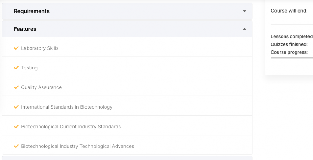 Biotechnology online courses - a list of courses